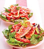 Mixed lettuce leaf and red mullet fillet salad
