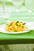 Tagliatelles with green asparagus and salmon roe