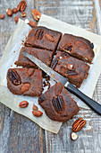 Chocolate,almond,pecan and hazelnut brownies