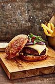 Cheddar and onion hamburger