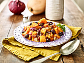 Pumpkin sauté with red onions,olives and thyme