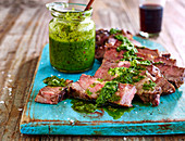 Tender leg of lamb with Fleur de sel sea salt and nettle pesto