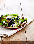 Two cheese,bread and blueberry lettuce salad