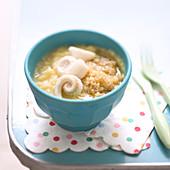 Zucchinipüree mit Quinoa und Seezunge