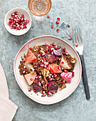 Quinoa,beetroot,walnut and pomegranate seed salad