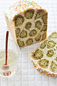 Leopard-patterned green matcha tea sliced brioche