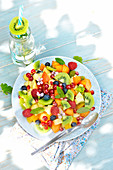 Multicolored fresh fruit salad