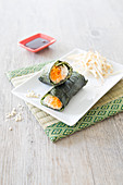 Carrot,Soya And Cucumber Nori Roll