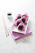 Red Cabbage And Smoked Tofu Onigiri