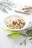 Risotto With Pleurotus Mushrooms,Chestnut And Parmesan Flakes
