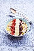 Bowl Of Muesli With Chocolate Chips,Banana And Goji Berries
