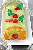 Candied Fruit Christmas Log Cake