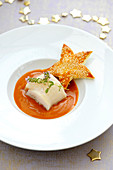 Turbot Fillet With Armoricane Sauce,Flaky Pastry Sesame Seed Stars