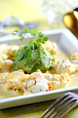 Monkfish In Creamy Saffron Sauce,Herb Mashed Potatoes