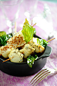 Monkfish And Fried Basil Brochettes With Sesame And Poppy Seeds
