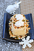 Nougat Ice Cream With Cointreau,Thinly Sliced Almonds And Pistachios