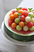 Watermelon Cake-Style Topped With Melon Balls