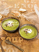 Cream Of Mushroom And Courgette Soup,Radish Sprouts And Quark Cream Cheese