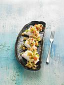Stockfisch mit Kichererbsen und zweierlei Paprika