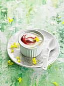 Hausgemachter griechischer Joghurt mit Honig und Himbeercoulis