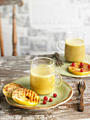 Turmeric-Flavored Milk With Apples Grilled With Cinnamon