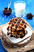 Brown Sugar Waffles With Chocolate Sauce