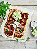 Ground Meat,Two Tomato,Salad,Pine Nut And Greek Yoghurt Turkish Pizza