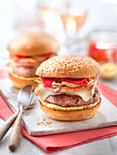 Ground Beef,Pork Ventrèche,Ossau Iraty Cheese,Onions,Piquillo Pepper,Espelette Pepper And Mayonnaise Basque Burger