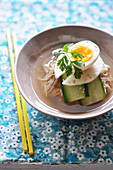 Korean Noodles With Cucumber,Nashi Pears And A Soft-Boiled Egg