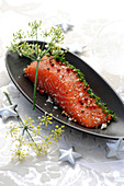 Gravlax salmon with 3 types of pepper