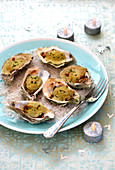 Grilled oysters with mushroom Duxelle