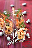 Truffle-flavored gambas cocktails