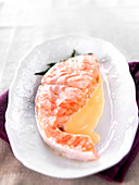 Salmon steamed with dill and white butter sauce