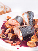 Mackerel cooked in red wine