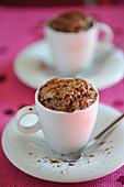 Small bitter chocolate soufflés