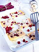 Large raspberry and pistachio Financier
