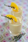 Apricot milkshake with thyme