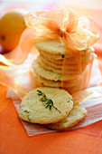 Orange and fresh thyme shortbread biscuits