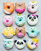 Assortment of animal donuts