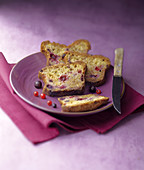 White chocolate,redcurrant and blackcurrant fruit cake