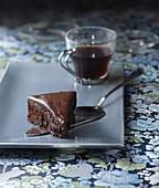 Slice of half-cooked chocolate cake