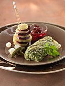 British-style stuffed cabbage,potato and beetroot Samouraï,gherkins,pickled onions and redcurrant jelly