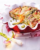 Asparagus,carrot,pea and turnip Clafoutis