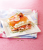 Shrimp,salmon,feta and radish sandwich