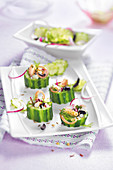 Cucumber wedges stuffed with octopus salad