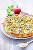 Rhubarb,apple and almond tart