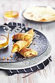Roasted banana pancake rolls