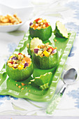 Round courgettes stuffed with vegetables and croutons