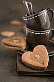 Heart-shaped chocolate biscuits