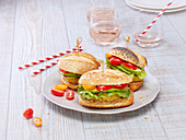 Falafel,avocado and cherry tomato sandwiches